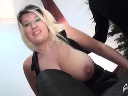 blonde woman is fucking her cunt