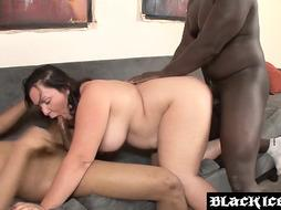 Kinky PLUS-SIZE inter racially slobber roasted and fed with jizz