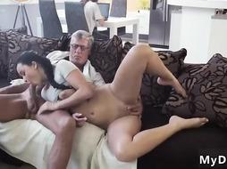 Unbelievable dark-haired is having fuck-a-thon with an older boy, while his wifey is out of town