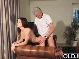 Senior and Youthfull Pornography - Nanny fuckbox plowed by senior boy and guzzles jizm