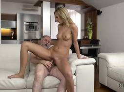 Ravishing blondeg gave a fellatio to a grandfather and got fucke dhard, on the bed
