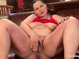 Preggie female in a crimson top is ultra-kinky