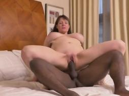 Huge-Chested mature girl takes a phat dark-hued chisel
