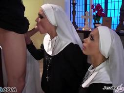 Jessica Jaymes and Nikki Benz are clothed up as nuns and having a warm three way