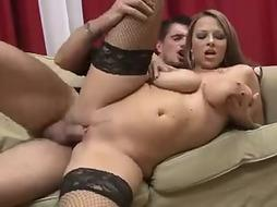 Big-Boobed dame is railing her playmate's schlong while he is toying with her milk mounds