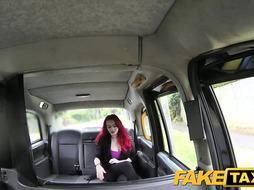 Stunning, crimson haired female with ginormous titties got into a faux cab and finished up romped