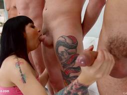 Mathilde Ramos gang mass ejaculation blowbang gulp sequence by Jizm For Glaze