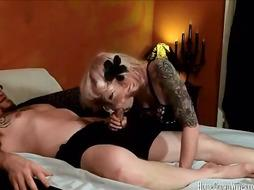 Furry tatted wifey wails as she is nailed in homemade movie