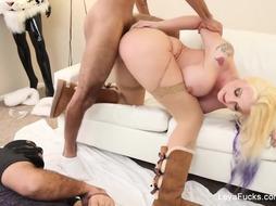 Dominatrix Leya makes him slurp her internal ejaculation