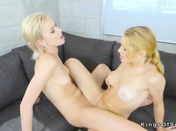 Ash-Blonde lezzies scissoring on the couch