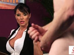 Huge-Chested British loves providing Jerk Off Instructions in her office