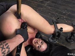 Sweat brunette rough fucked in device bondage