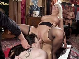 Lesbians licking and fucking at party