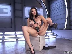 Busty beauty fucking machine solo
