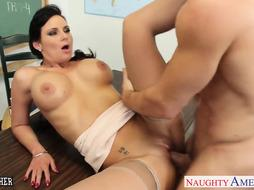 Busty lecturer Phoenix Marie take penis in classroom
