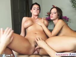Housewives Alison Tyler and Jada Stevens sharing salami in POINT OF VIEW
