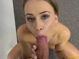 Nice nymph with a adorable, lush arse, Carmel Anderson is blowing sausage while getting on all fours on the floor