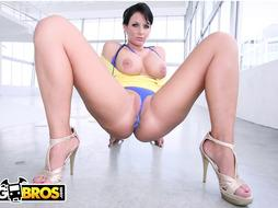 Sexually Aroused dark-haired, Phoenix Marie is fellating sack and rubbin' a rock stiff schlong, before railing it