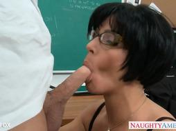 COUGAR in glasses Shay Fox shag in class
