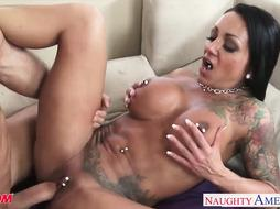 Inked black-haired mother Ashton Blake boinking