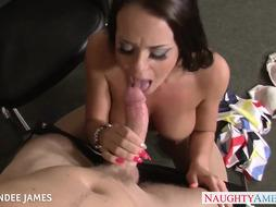 Stunner in stocking Rahyndee James gets facialized