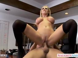 Stockinged office honey Nikki Benz poke