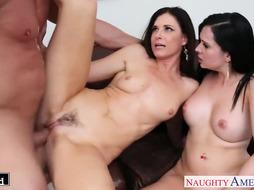 Dark Haired stunners Angell Summers and India Summer share penis