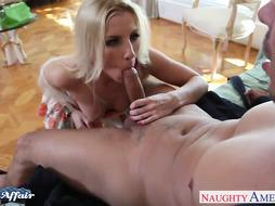 Saucy platinum-blonde Ashley Fires pulverize her neighbor