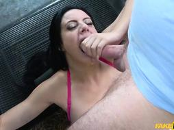 Bodacious brown-haired, Damaris is getting smashed in the back of a cab and luving it a pile