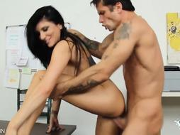 Dark Haired Drills Rock Hard With Her Meaty Fun Bags