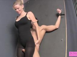 Restrain Bondage Hj in Leotard Stockings and High-Heeled Shoes Kneeing Balls
