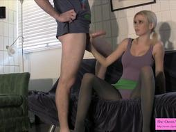 Vanessa Vixon wanks off Brysky GIMP OUTFIT STOCKING SKIRT