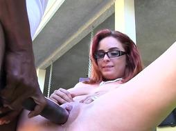 Ginger-Haired Nymph Takes Neighbour's Ebony Chisel