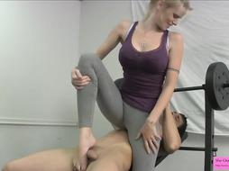 Hottie in Stretch Pants Kicking Balls Sole Fetish in the Gym