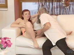 DADDY4K. Subjugated red-haired likes cunt fingerblasting for bearded dad
