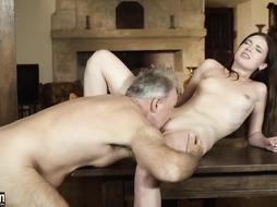 Teenager fellate oral pleasure and popshot from elder dude with thicc hard-on