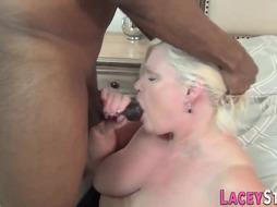 Grannie titfucks BIG BLACK COCK