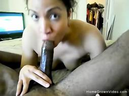 Light flesh first-timer getting torn up by a huge dark-hued pecker