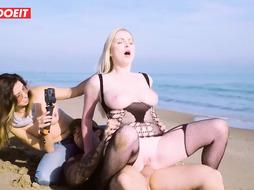 Sexy blond nymph in pantyhose and boots with high high-heeled shoes, Frida Sante got porked on the beach
