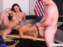 Ava Addams and Rachel Starr are having a kinky 3some in the classroom, with a kinky tutor