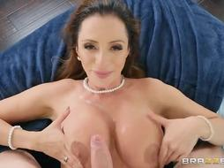 Curvy mature damsel with enormous baps, Ariella Ferrara loves to have fuck-fest with her step- sonnie