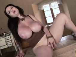 Sensuous dark haired honey with highly immense titties is putting her hump fucktoy deep in her sweet fuckbox