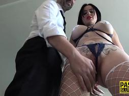 Insane dark haired in milky fishnets got bound up, romped and ball-gagged until she embarked squealing