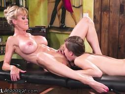 Grubby platinum-blonde cougar with giant orbs, Brandi Enjoy and a yummy nubile are having lesbo orgy