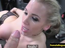 Ash-Blonde girl with good-sized, elastic boobs is boinking a stud in the back of a cab