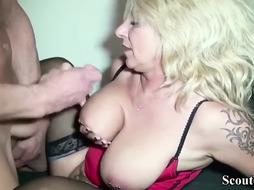 Mature German cougar in mesh tights is getting pulverized in the pinkish vag, by a youthful man