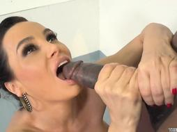 Curvaceous cougar with a lush bum is getting torn up rock hard in the adorable poon, while having a bathroom