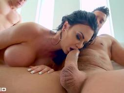 Wild cougar with enormous milk cans, Jasmine Jae got penetrated stiff by 2 ultra-kinky customers, at the same time