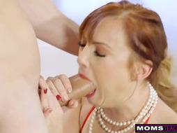 Crimson haired chick in glamour hooter-sling got down and sloppy with her sexy step- sonny
