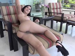Unbelievable dark-haired, Demi Lopez is dressed in only sandals with high high-heeled shoes while stretching her puss